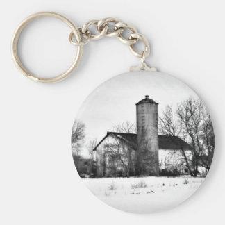 Winter Refuge Barn Keychain