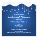 Winter Rehearsal Dinner Snowflake Decoration Blue Personalized Invitations