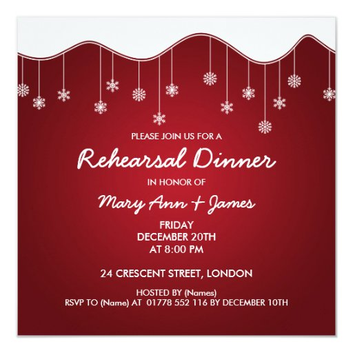 Winter Rehearsal Dinner Snowflake Decoration Red Card