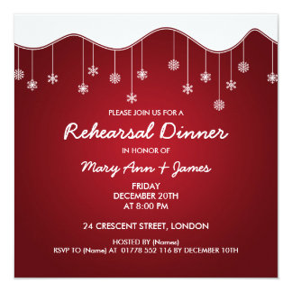 Winter Rehearsal Dinner Snowflake Decoration Red Personalized Invitations