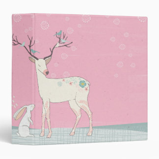 Winter Reindeer and Bunny in Falling Snow 3 Ring Binder