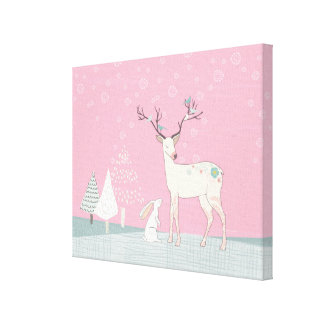 Winter Reindeer and Bunny in Falling Snow Canvas Print