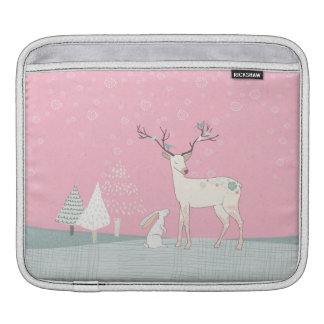 Winter Reindeer and Bunny in Falling Snow iPad Sleeve