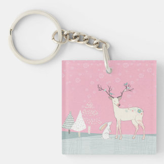 Winter Reindeer and Bunny in Falling Snow Keychain