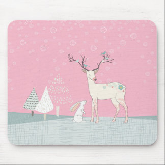 Winter Reindeer and Bunny in Falling Snow Mouse Pad