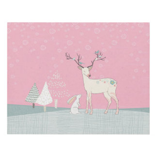 Winter Reindeer and Bunny in Falling Snow Panel Wall Art