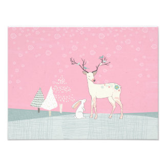 Winter Reindeer and Bunny in Falling Snow Photo Print