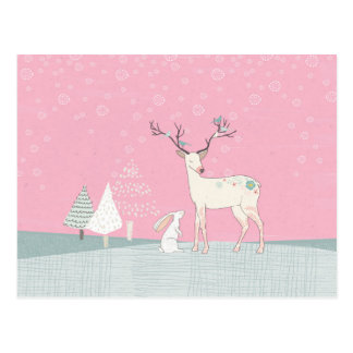 Winter Reindeer and Bunny in Falling Snow Postcard