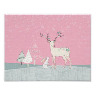 Winter Reindeer and Bunny in Falling Snow Poster