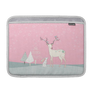 Winter Reindeer and Bunny in Falling Snow Sleeve For MacBook Air