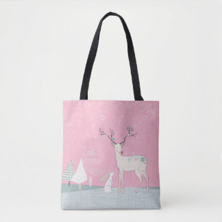 Winter Reindeer and Bunny in Falling Snow Tote Bag