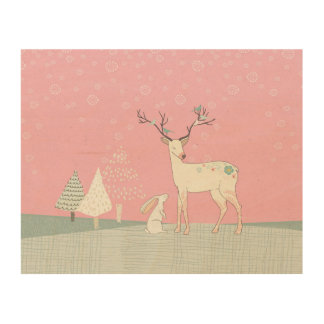 Winter Reindeer and Bunny in Falling Snow Wood Wall Decor