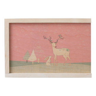 Winter Reindeer and Bunny in Falling Snow Wooden Keepsake Box