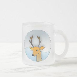 Winter Reindeer 10 Oz Frosted Glass Coffee Mug