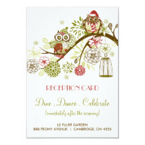 Winter Retro Owls Floral Holiday Reception Card