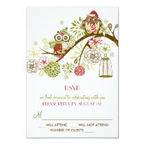 Winter Retro Owls Floral Holiday RSVP Card
