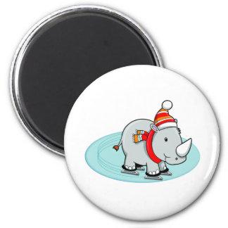 Winter Rhino Ice Skater 2 Inch Round Magnet
