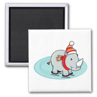 Winter Rhino Ice Skater 2 Inch Square Magnet