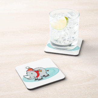 Winter Rhino Ice Skater Beverage Coaster