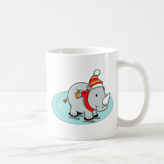 Winter Rhino Ice Skater Coffee Mug