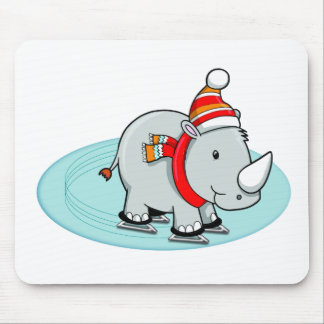 Winter Rhino Ice Skater Mouse Pad