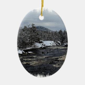 Winter River Ceramic Ornament