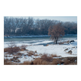 Winter River Nature Poster