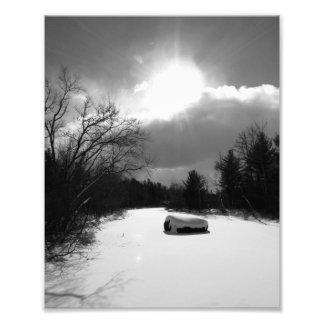 Winter River Photo Print BW