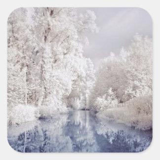 Winter River Scene Sticker