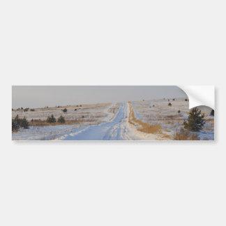 Winter Road in the Fields Car Bumper Sticker