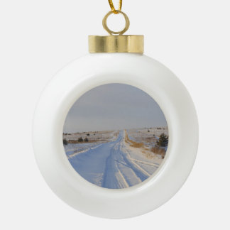 Winter Road in the Fields Ceramic Ball Christmas Ornament