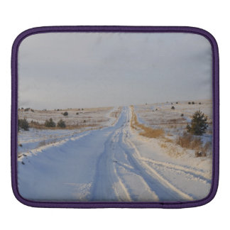 Winter Road in the Fields iPad Sleeve
