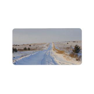 Winter Road in the Fields Label