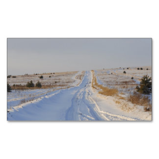 Winter Road in the Fields Magnetic Business Card