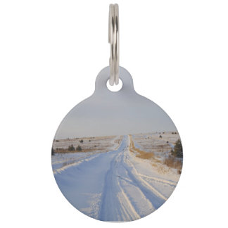 Winter Road in the Fields Pet Name Tag