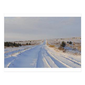 Winter Road in the Fields Postcard