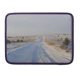 Winter Road in the Fields Sleeve For MacBooks