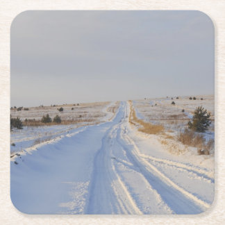 Winter Road in the Fields Square Paper Coaster