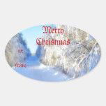 Winter Road Oval Sticker