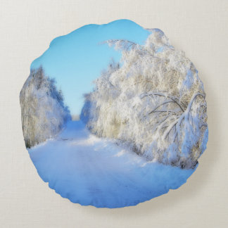 Winter Road Round Pillow