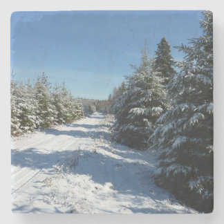 Winter Road Stone Coaster