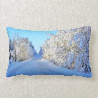 Winter Road Throw Pillows