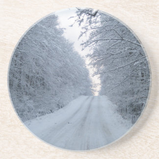 Winter Road Tree Scene Sandstone Coaster