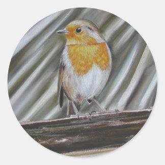 Winter Robin Classic Round Sticker