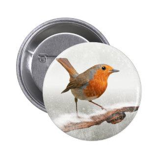 Winter Robin Redbreast 2 Inch Round Button