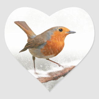Winter Robin Redbreast Heart Sticker