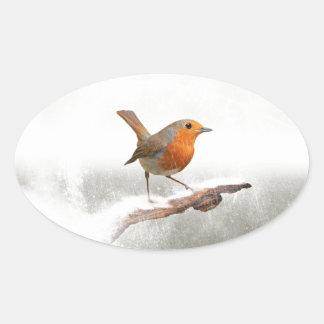 Winter Robin Redbreast Oval Sticker