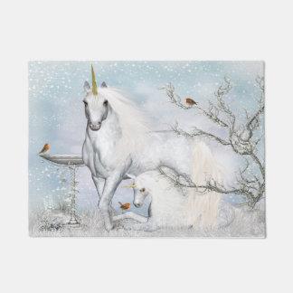 Winter Robins and Unicorns Doormat