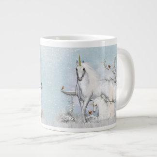 Winter Robins and Unicorns Jumbo Mug