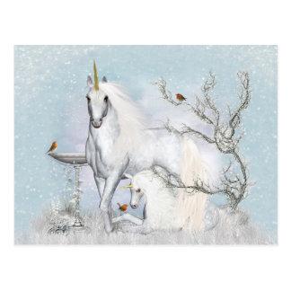 Winter Robins and Unicorns Postcard